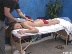 Naked Samantha seduces the masseur