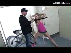 Wicked Blonde Girl Getting Handcuffed Pussy Rubbed With Baton Giving Blowjob For The Security Guard In The Public Toilette