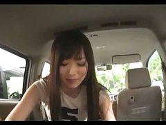 Oriental Girl Engulfing Guy Cock Giving Handjob Cum To Hand In The Back Of The Car