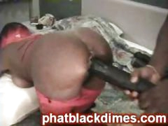 Nasty black ghetto freak gets drilled with big toy
