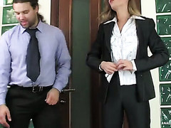 Female co-worker with a admirable behind getting her taut butthole crammed hard