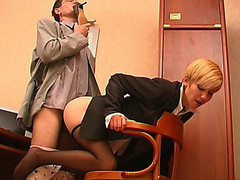 Lewd co-worker sniffing high heel shoes whilst fucking sexy hotty in black pantyhose