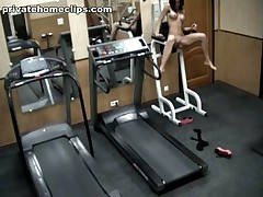 Just look at this vicious brunette hair babe going crazy in the gym when alone! First she's exercising in nothing but nylon hose and then she's stripping it too and spreading her cool legs wide as if gagging for unfathomable penetrations!