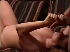 See raunchy homemade movie with chubby doll stroking hard knob and petting balls of her husband until that guy shoots his hot cum on her giant boobs.