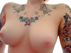 The flawless emo girlfriend featured on this leaked private webcam clip is wearing nothing but her sexy tattoos while she fingers her pussy and ass for her cyber show fans! She fucks herself with dildos too!