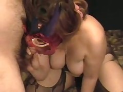 A lady with big tits gets herself off with a toy as I suck her breasts. She cums loudly then sucks the cum out of my cock swallowing the load. Moaning with glee she then rubs my wet drained penis on her nipple.