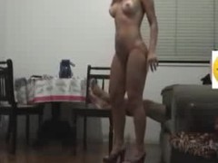Sex goddess with long flowing hair knows how to please her BF visually by getting naked in her heels and showing a little pubic hair line on her cunt. He fucks her hard core on the chair and makes them both cum.