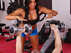 Lezley Zen's working as a personal trainer and this babe's got a fresh client, but this babe doesn't know which of the two guys it is in the gym. Johnny Sins tricks the other chap into leaving the gym so this chab's alone for some one on one time with Lezley. 1st Lezley shows him some proper ways to toning some muscles, then later Johnny shows Lezley some sexy work outs that gets her sweating!