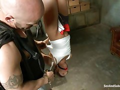 Male stud Derrick Pierce is inspecting his nice pray, brunette milf Eva Fenix. He cuts the clothes off this good looking babe while she is hanging upside-down. She likes sucking his big meaty white cock with her tiny mouth and sweet little lips. He enjoys banging her throat roughly.