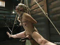 Chastity Lynn is a blond milf who enjoys being tied up with ropes. She likes when this babe is not able to move her hands and feet freely. As this babe stands helpless with a ball gag in her mouth and a rope blindfold on her eyes, a friend is giving her a big time pleasure, rubbing her cunt with a vibrator.