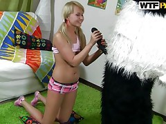 Naughty blond girl with pony tails finds a new game to play with her favourite toy Mr. Panda. In the game, the panda is 'Sir Fuck-A-Lot' and blond is competing for the quest 'Who is a Whore? '. As the panda pulls out his big darksome dick, blond keeps showing her talents to prove herself a immodest whore to win!