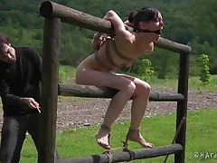 She's laying in mud just the way she deserves it, Elise is a cheap whore and she knows it so that's why she's receiving this treatment! After she stood in mud, tied on a wooden post the bitch is being tied up by a fence and the executor plays with her shaved cunt. Find out what is waiting for her next