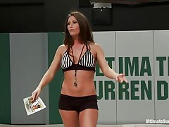 Scoring points doing sexual things is the best in sexual wrestling! Every move, such as pussy licking, pussy fingering or face kissing brings points to the strong bitches. They fight hard because they both want to dominate the other. You can be sure that escaping from sex clutches is not at easy as it seems!