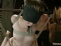 Short-haired whore Alani is all tied up in the air, while getting her ass and shaved pussy spanked by her horny master Mark. Her tongue is covered with clothespins and her pussy is wet from the pain. He fingers her cunt and sticks his big dick inside her after he spanks her ass and feet some more.