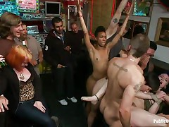 Proxy Paige is a blonde milf craving for punishment. The cute girl with small round natural tits enjoys being tied up and getting anal fucked in a bar. Gorgeous Lorelei Lee and Mr. Pete are making sure this babe receives what this babe deserves. The white guy bangs her mouth roughly as this babe moans with fun and pain.