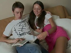 hot teen is smiling and having fun with guy in bed while reading magazine and soon everything changes both started kissing each other and the guy while kissing touches her whole body like her sexy ass, small tits and then takes off his clothes and also her clothes and gives his hard big dick in her mouth for passionate blowjob, she sucks it hard and licks his balls and then spread her legs to him for her pussy to be licked.