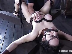 This dark brown is milky white and her bawdy cleft is so tight and ideal that they had to gape it and disclose the inside of it. Have a fun watching this slut in a uncomfortable position as her large soft boobs are squeezed and sucked and her mouth gagged. Four clamps are added on her delicious bawdy cleft to gape it for our sight