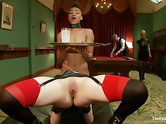 Lascivious Juliette is licking Nikki`s tight pussy, while getting fucked very hard. She is groaning with fun and gets her cunt spanked so hard, while Nikki gets her wazoo whipped. Nikki is the waitress tonight and has to hold a coaster and be careful not to spill it, even though she is not quite cumming!