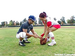 Canadian whore Kylee wants to learn how to play baseball but the guy has something else in his mind. She soon ends up from the baseball field on his couch! Those huge boobs, red hair and juicy lips are awesome and and this guy is lucky to have her. Will he handle his dick better then she plays baseball?