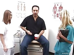 Mike goes to the doctor to see what's wrong with his dick. Two nurses, Karen and Jenna, inspect his cock by making him jerk it in front of them. They help him give a sperm example by taking turning jerking his penis.