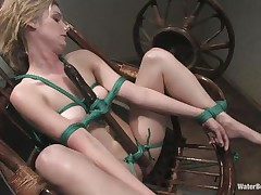 Fayth is tied up on that chair and has a dildo tied real thigh on her sexy body. She is sucking the dildo and gets submersed in water for being a bad girl. Now she is horny and wet and continues sucking that sex toy with even more lust. Will her executor give her the real thing to suck and swallow?