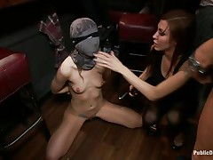 She had her whole face covered in a mask they cut open a hole in front of her mouth and used that hole to insert a big meaty dick into her mouth. fat lady gets a bit of coddling from the guy before he gets back to fucking the mouth of the tied up girl and punishing her they want to fuck her hard.
