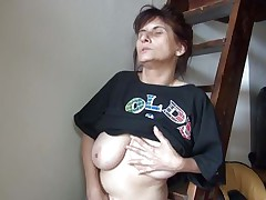Old lady Vlasta gets so turned on on a ladder and takes her clothes off, while touching her pussy and tits so hard. She keeps fingering her wet cunt and moaning with so much pleasure. Then, the bitch sits down and spreads her legs because she is ready to cum on a little red slide. Wanna know how this`ll end?
