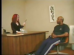 Cute redhead midget asks this tall large black guy to stand up and then takes his cock in her mouth, wrapping these red hawt lips around it. This is at an interview and he more excellent fuck that midget wench fine to take the job. Look at her sucking his wang with passion, that babe loves it and then undresses, maybe we are going to see some hardcore fuck? If he wants the job he will do as requested from this midget slut.