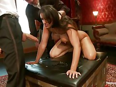 Brunette slut Penny is a slave at a sex party. She is made to suck hard cocks, then gets her ass spanked. A big dildo will solve the situation very well, making her cunt so wet and hot. The man sticks his dick in her pussy from behind, but she wants to suck some more and starts sucking the dildo!