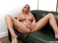 Whore with short blonde hair, Deadra Dee, is showing her large boobs and widening her legs as this babe spreads her pussy for you too. See her soaked pussy as this babe is masturbating for pleasure. On a couch, waiting for a cock with her exposed body this floozy is willing to acquire drilled hard. And as a cock came, this babe started fellatio instantly!