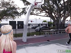 Chloe Foster tried to hit the court for some one-on-one basketball, but she has no skill for the game. That babe does have some off-the-court skills though, like sucking cock. After the stud bench presses her and squeezes her tiny tits, she gets on her knees and pulls out his pole, sucking it greedily.