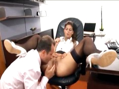 His secretary loves a large boner in her gap