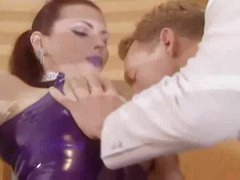 Latex maid in braided pigtails takes cock