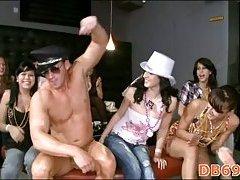 Cute girl acquires stripper pecker in face hole