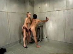 Hot femdom in jail cell includes dong