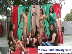 CFNM cuties enjoying men in swing ready to be blowed off