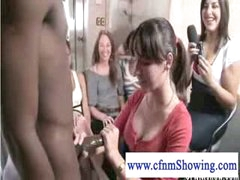 cfnm mils discovering the balck knob loves to jerk it