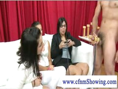 Cfnm ladies loving some cock wanking act