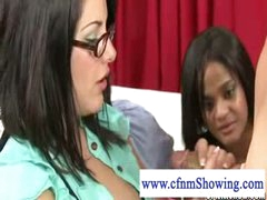 Cfnm girl with glasses and big pantoons acquires cum on her pantoons