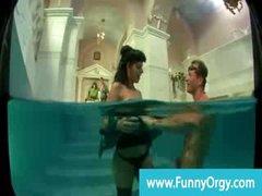 Rich horny cfnm milf gets gangbanged in the pool
