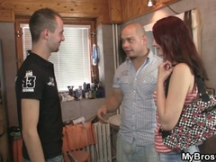 Slutty red head legal age teenager bitch cheating her boyfriend over his friend