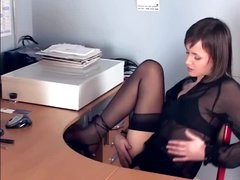 Brunette masturbates in sheer nylons and heels