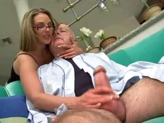 Super hot girl in glasses screwed by corpulent old chap